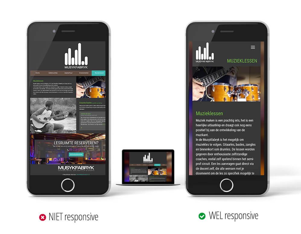 Verschil NIET responsive WEL responsive website jeroenwebsitemarketing
